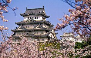 Exterior view of Himeji castle in springtime, Himeji, Hyogo Prefecture, Japan